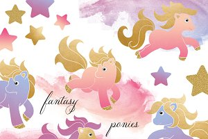 Little Fantasy Pony Clipart Set