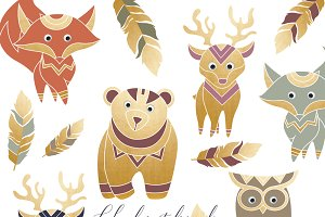 Boho Forest Animal Clipart Set