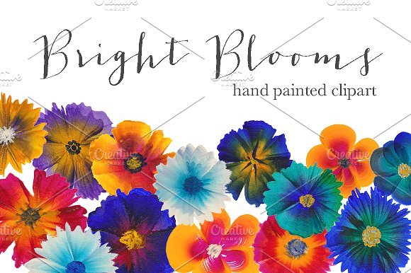 hand painted clipart bright blooms