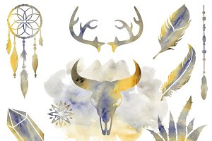Boho Prairie Watercolor Clipart Set