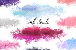 Ink Cloud Stain Clipart Set