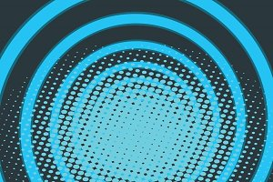 Blue circle ring radio pop art background