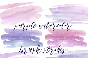 Purple Paint Stroke Clipart Set