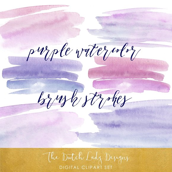 Purple Paint Stroke Clipart Set