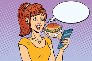 girl teenager online ordering the Burger fast food