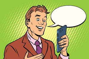 Online communication is a businessman and smartphone