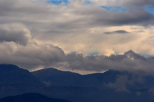 Clouds and mountain