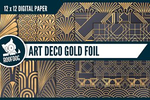 Art deco digital paper gold foil det
