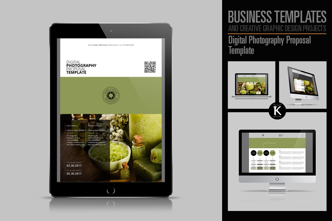 digital photography proposal templates creative market. Black Bedroom Furniture Sets. Home Design Ideas