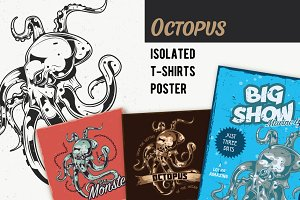 Octopus T-shirts And Poster Labels