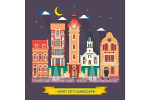 Urban city night landscape Town skyline Flat illustration