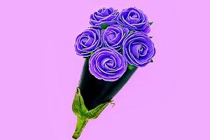 Purple mix. Eggplant and flowers.
