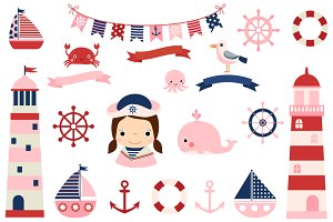 Cute pink girl nautical clipart set