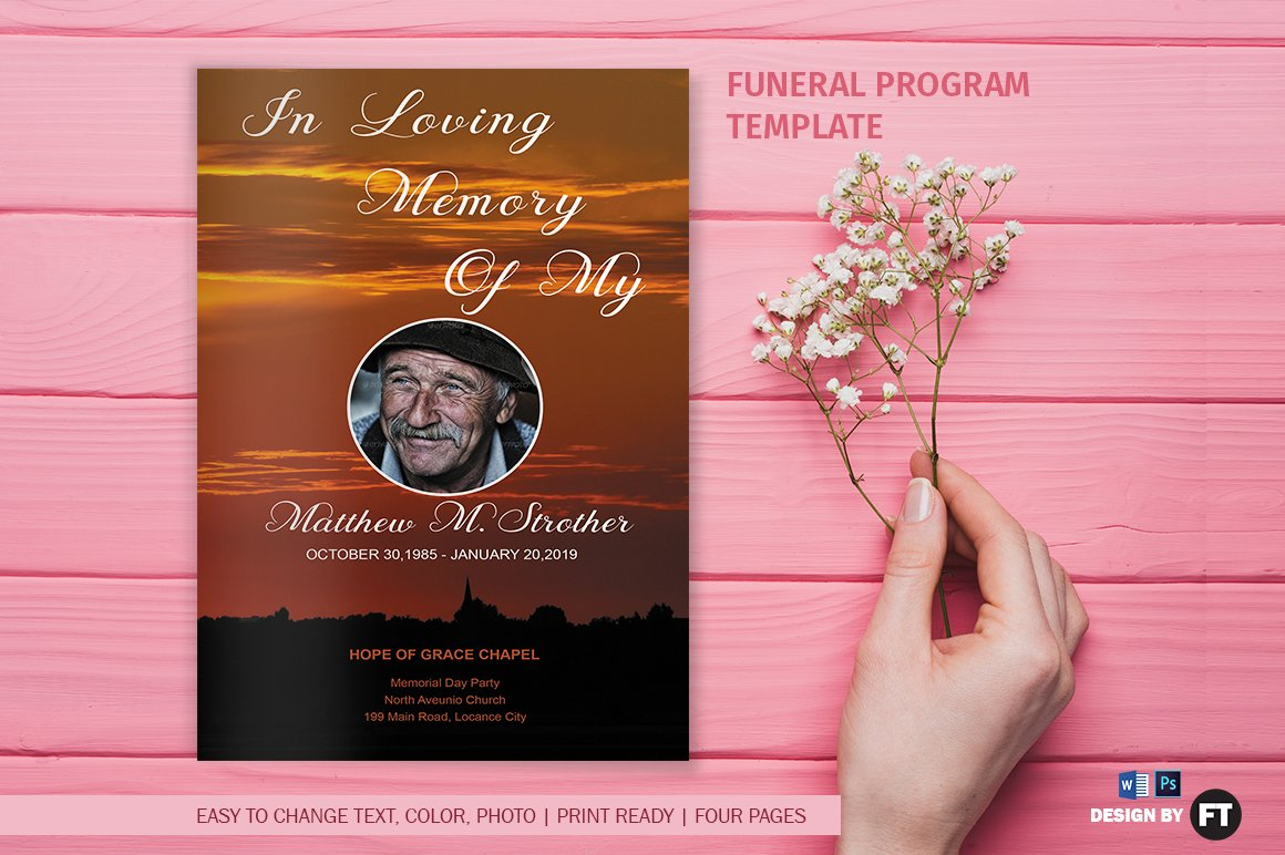Funeral Program Template Brochure Templates on Creative Market – Template of Funeral Program