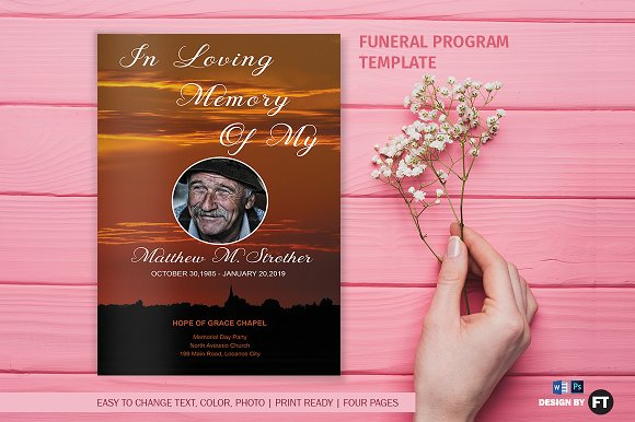 Funeral Program Template Sunset Brochure Templates on Creative – Template Funeral Program