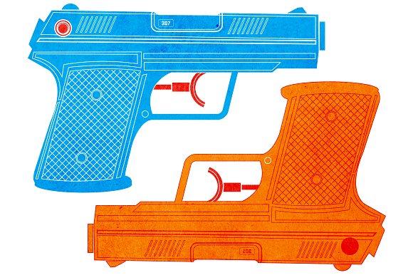 Water Gun / Water Pistol in Illustrations