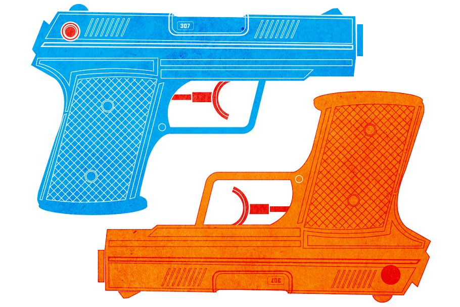 Water Gun / Water Pistol in Illustrations - product preview 8