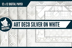 Art deco—silver foil on white