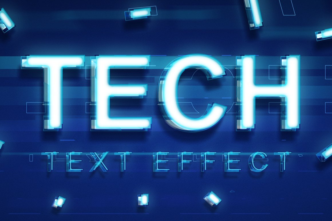 Technology Text Effect Photoshop Add Ons Creative Market