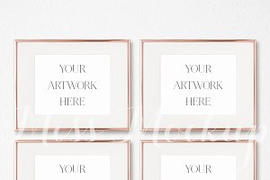 Set Of 4 Rose Gold Frames Mockup