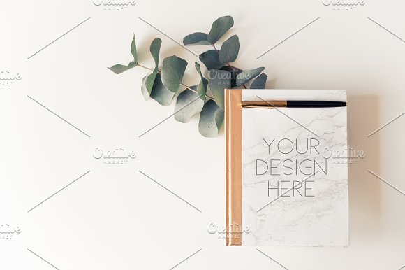 Marble Note Mockup With Eucalyptus