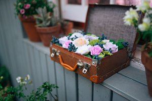 Luggage full of flowers