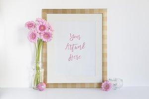 Pink Gerberas & Gold frame Mockup