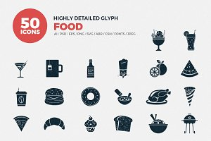 Glyph Icons Food Set