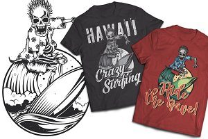 Surfing Skeleton T-shirts Labels