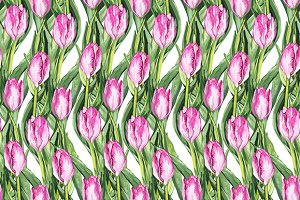 Tulip flower seamless pattern vector