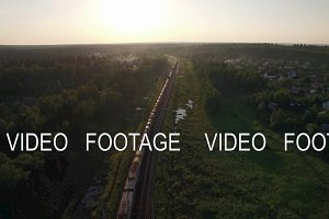 Aerial view of freight train in the country, Russia