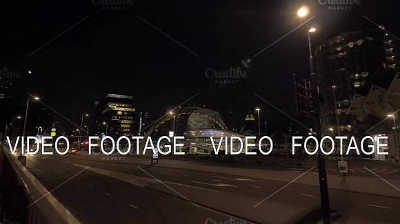 Night View Of Rotterdam With Cube Houses And Roads Netherlands