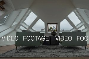 Timelapse of clouds in windows, view inside Cube House