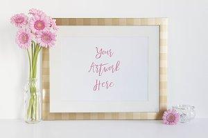 Pink Gerbera & Gold Frame Mockup