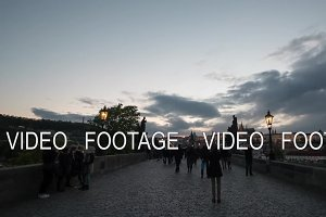 Timelapse view of walking people on the picturesque Charles Bridge, Prague, Czech Republic
