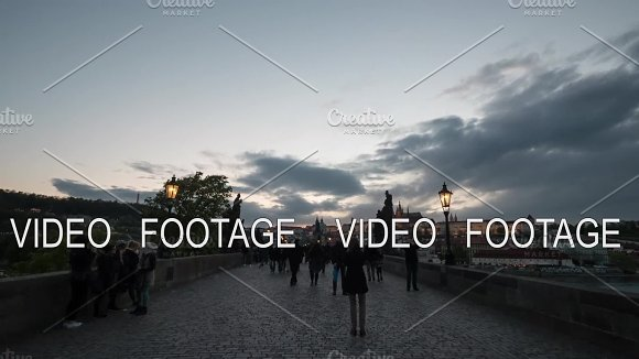 Timelapse View Of Walking People On The Picturesque Charles Bridge Prague Czech Republic