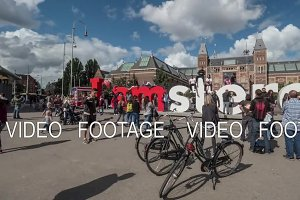 Timelapse of tourists traffic at I amsterdam slogan near Rijksmuseum