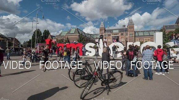 Timelapse Of Tourists Traffic At I Amsterdam Slogan Near Rijksmuseum