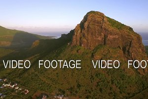 Le Morne Brabant mountain in Mauritius, aerial view