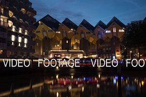Night Rotterdam with Cube Houses and waterfront cafes