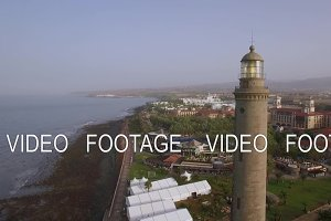 Resort area and Maspalomas Lighthouse, aerial view