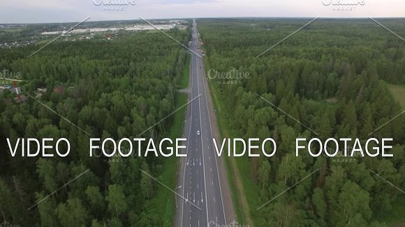 Flying Over The Road In The Countryside Russia