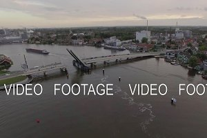 Aerial view of river with drawbridge and ship, Netherlands