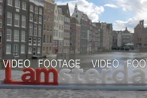 I amsterdam slogan on city background, Netherlands