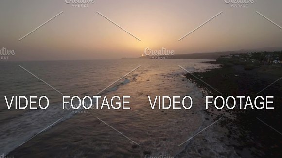 Aerial view of picturesque island landscape in sunset time at the sea, Gran Canaria Island, Spain