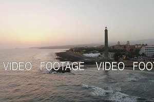 Lighthouse on Gran Canaria coast, aerial