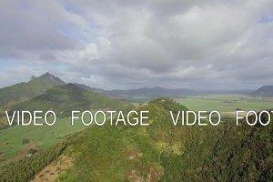 Aerial scene of green Mauritius mainland