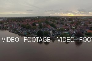 Waterside township in Netherlands, aerial view