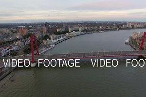 Aerial Rotterdam view with Willem Bridge