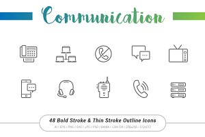 48 Communication Outline Stroke Icon